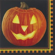 16 Halloween Pumpkin Glow Paper Party Napkins